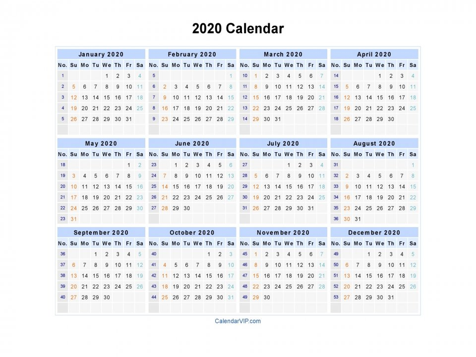 2020 Calendar - Blank Printable Calendar Template In Pdf Word Excel 2020 Calendar With Lunar Dates